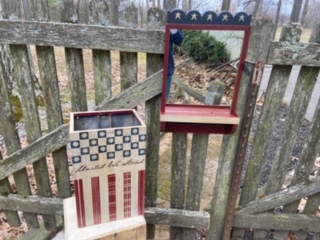 Wood mirror and metal box painted in Americana theme