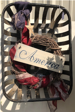 Americana wreath in tobacco basket