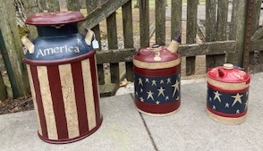 Metal cans painted in Americana theme