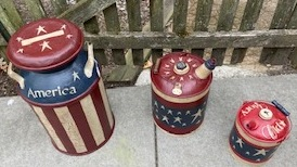 Top of metal cans painted in Americana theme