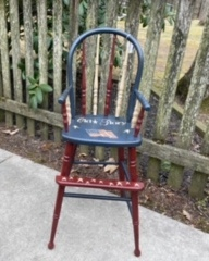 Wooden High Chair painted in Americana Theme