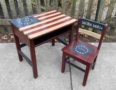 Antique Wooden School Desk painted in Americana theme